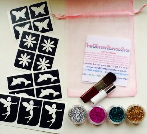 GIRLS MINI STENCIL GLITTER TATTOO KIT